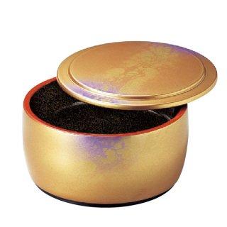 D.X4寸タイコミニ桶金王八雲内梨地浅型 蓋付 漆器 ミニ桶 業務用