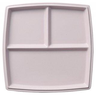 シャンブル 22cm 角三つ仕切りプレート クラリスピンク 洋食器 ランチプレート 業務用 カネスズ 約22.3cm