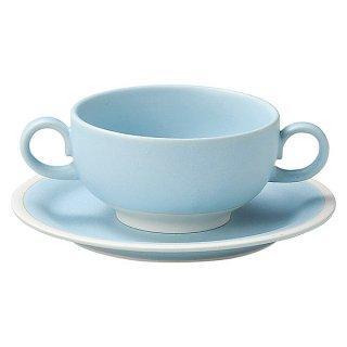 """ソリッドブルー ブイヨン碗&6 1/2""""パン皿 カネスズ 洋食器 両手スープ 業務用 約15.3cm"""