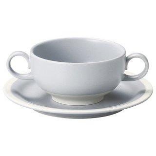 """ソリッドグレーブイヨン碗&6 1/2""""パン皿 洋食器 両手スープ(洋食器) 業務用 カネスズ 洋食 洋風 コーンスープ"""