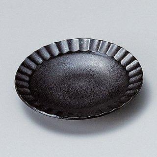 黒結晶しのぎ5.0皿 17cm 和食器 フルーツ皿・銘々皿・取皿 業務用