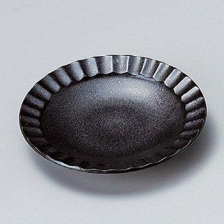 黒結晶しのぎ4.0皿 14cm 和食器 フルーツ皿・銘々皿・取皿 業務用