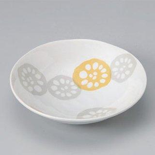 黄れんこん5.0浅鉢 和食器 小鉢(大) 業務用 約16.4cm 和食 和風 鉢 サラダ 枝豆 煮物 冷奴 刺身 おひたし