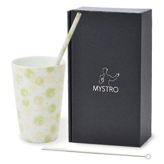 MYSTRO Primo マイストロプリモ&プリモタンブラー 麻の葉ライム オリジナルBOX入り ギフト 贈り物 マイストロー おみやげ ストロー 陶器 陶製 陶磁器ストロー おしゃれ 脱プラスチック