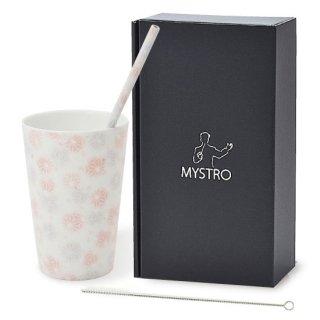 MYSTRO Primo マイストロプリモ&プリモタンブラー 麻の葉ピンク オリジナルBOX入り ギフト 贈り物 マイストロー おみやげ ストロー 陶器 陶製 陶磁器ストロー おしゃれ 脱プラスチック