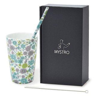 MYSTRO Primo マイストロプリモ&プリモタンブラー 花園ブルー オリジナルBOX入り ギフト 贈り物 マイストロー おみやげ ストロー 陶器 陶製 陶磁器ストロー おしゃれ 脱プラスチック