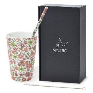 MYSTRO Primo マイストロプリモ&プリモタンブラー 花園ピンク オリジナルBOX入り ギフト 贈り物 マイストロー おみやげ ストロー 陶器 陶製 陶磁器ストロー おしゃれ 脱プラスチック