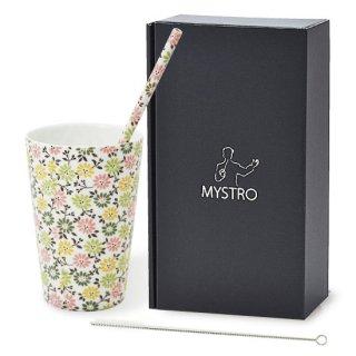 MYSTRO Primo マイストロプリモ&プリモタンブラー フローラル オリジナルBOX入り ギフト 贈り物 マイストロー おみやげ ストロー 陶器 陶製 陶磁器ストロー おしゃれ 脱プラスチック