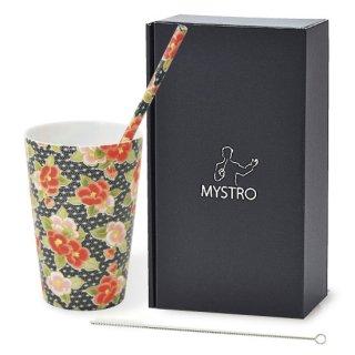 MYSTRO Primo マイストロプリモ&プリモタンブラー 古典椿 オリジナルBOX入り ギフト 贈り物 マイストロー おみやげ ストロー 陶器 陶製 陶磁器ストロー おしゃれ 脱プラスチック