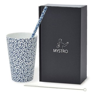 MYSTRO Primo マイストロプリモ&プリモタンブラー 藍桜 オリジナルBOX入り ギフト 贈り物 マイストロー おみやげ ストロー 陶器 陶製 陶磁器ストロー おしゃれ 脱プラスチック