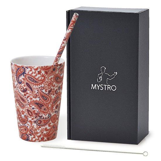 MYSTRO Primo マイストロプリモ&プリモタンブラー ペイズリー オリジナルBOX入り ギフト 贈り物 マイストロー おみやげ ストロー 陶器 陶製 陶磁器ストロー おしゃれ 脱プラスチック