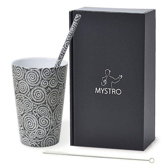 MYSTRO Primo マイストロプリモ&プリモタンブラー 黒唐草 オリジナルBOX入り ギフト 贈り物 マイストロー おみやげ ストロー 陶器 陶製 陶磁器ストロー おしゃれ 脱プラスチック