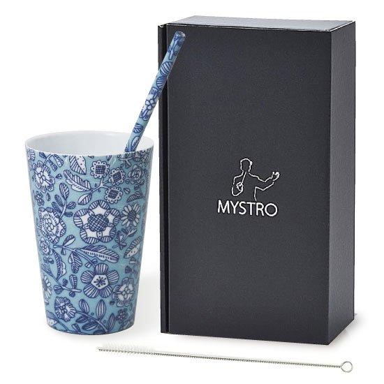 MYSTRO Primo マイストロプリモ&プリモタンブラー ブルーデイジー オリジナルBOX入り ギフト 贈り物 マイストロー おみやげ 陶磁器ストロー おしゃれ 脱プラスチック