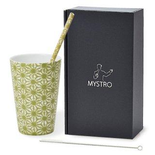MYSTRO Primo マイストロプリモ&プリモタンブラー 透かし麻の葉 オリジナルBOX入り ギフト 贈り物 マイストロー おみやげ ストロー 陶器 陶製 陶磁器ストロー おしゃれ 脱プラスチック