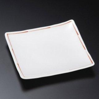 赤ライン6.0正角皿 和食器 フルーツ皿・銘々皿・取皿 業務用