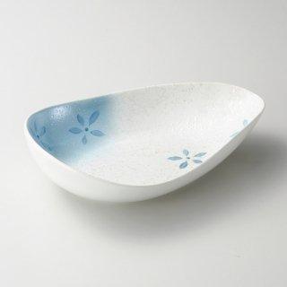 ラスター花散らし変型楕円鉢ブルー 和食器 大鉢 業務用 約26cm 和食 和風 鉢 盛鉢 サラダ 揚げ物 煮物 日本料理 割烹料理