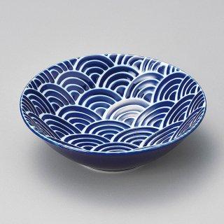 瑠璃なみ4.0鉢 和食器 小鉢(大) 業務用 約14.2cm ブルー系 青海波 和食 和風 鉢 サラダ 枝豆 煮物 デザート