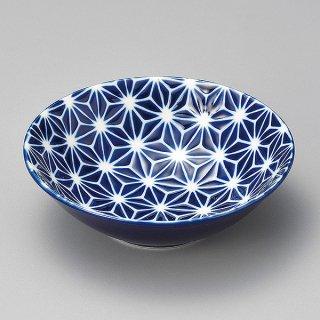 瑠璃麻4.0鉢 和食器 小鉢(大) 業務用 約14.2cm ブルー系 麻の葉 和食 和風 鉢 サラダ 枝豆 煮物 デザート 冷奴