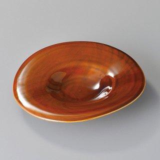 アメ釉木目変形大皿 和食器 変形皿 業務用