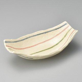 三色線舟型鉢 和食器 長角皿 業務用