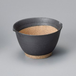 黒マット麦トロ鉢 小 和食器 すり鉢関連 業務用