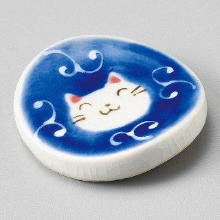 一珍唐草猫丸箸置 青 和食器 箸置 業務用