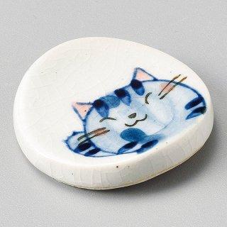 元気猫丸箸置 青 和食器 箸置 業務用