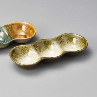 織部かすみ丸三品盛 大 和食器 仕切皿(2品皿・3品皿) 業務用