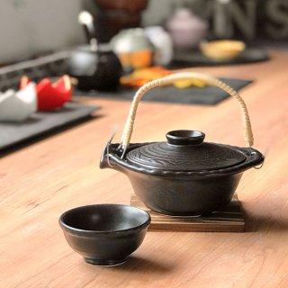 黒釉平形土瓶むし 萬古焼 和食器 土瓶むし 萬古焼 直火 業務用