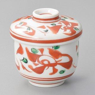 赤釉赤絵花鳥小むし碗 和食器 むし碗 業務用