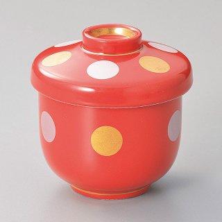 赤釉金銀彩丸紋小むし碗 和食器 むし碗 業務用
