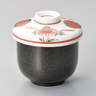 黒結晶赤絵花鳥むし碗 和食器 むし碗 業務用