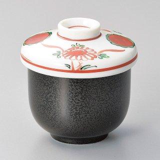 黒結晶赤絵花鳥小むし碗 和食器 むし碗 業務用