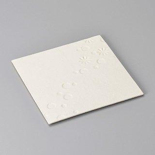 印花 白 24cm角プレート 和食器 角皿(中) 業務用