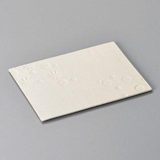 印花 白 24cm長角プレート 和食器 焼物皿 業務用