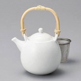 白磁玉土瓶 カゴアミ付 和食器 土瓶(小) 業務用