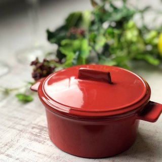 GC10cm手付きココット 蓋付 レッド 洋食器 オーブンウェア スフレ・ココット 業務用 赤 丸型 両手 耳付き ふた付き