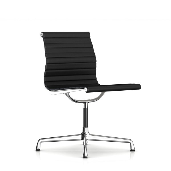 Eames Aluminum Group Side Chair /  Leather