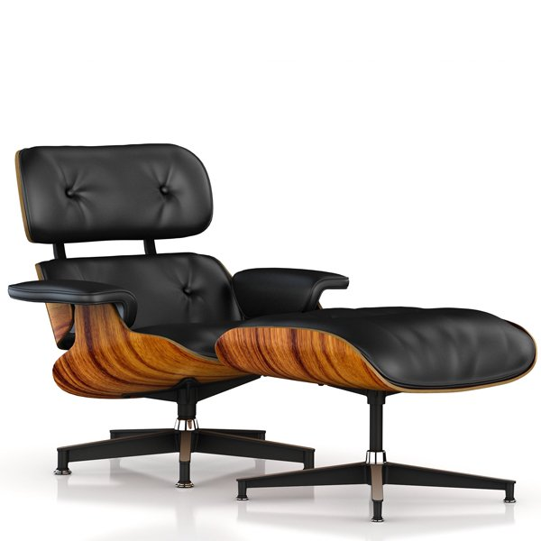 Lounge Chair & Ottoman / New / Leather Black