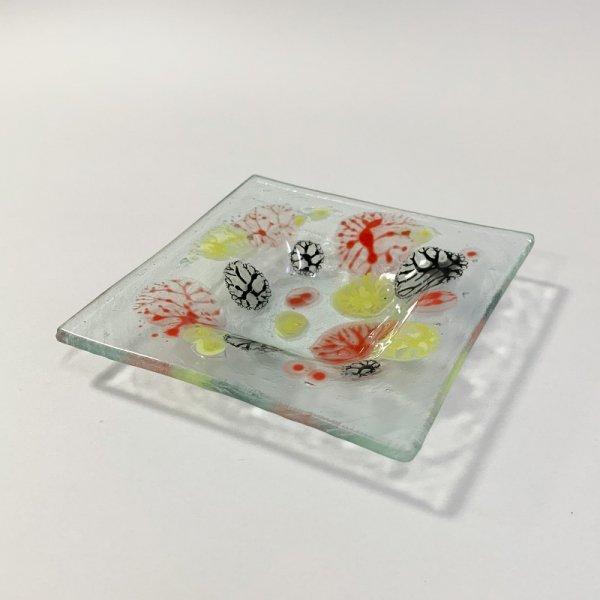 Higgins Glass / Square Dish / Coral Pattern / #33