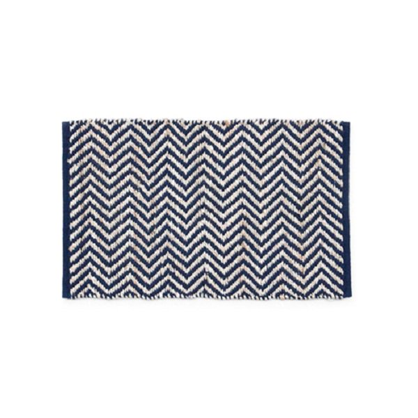 Hemp Cotton Herringbone Rug 80x50cm Navy