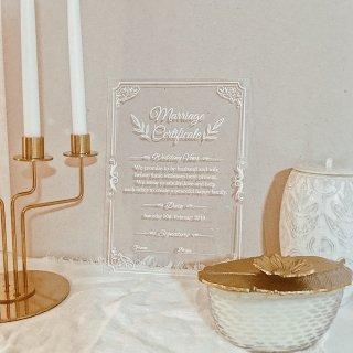 結婚証明書 アクリル リーフデザイン 人前式 ウェディング ウェルカムボード