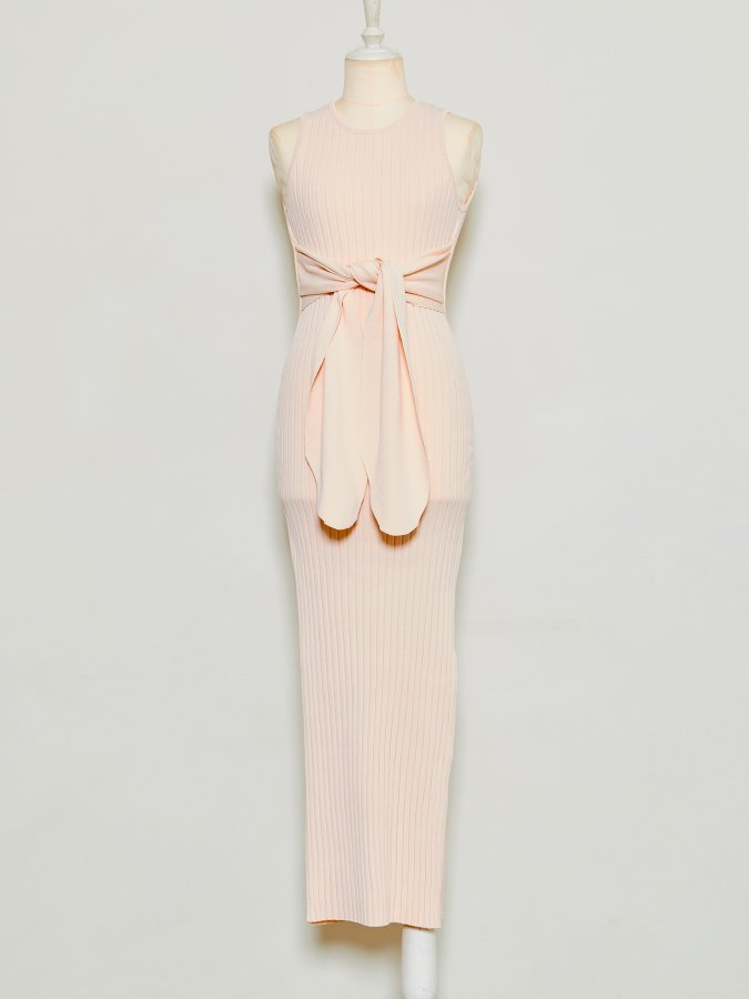 Front Ribbon Rib Dress