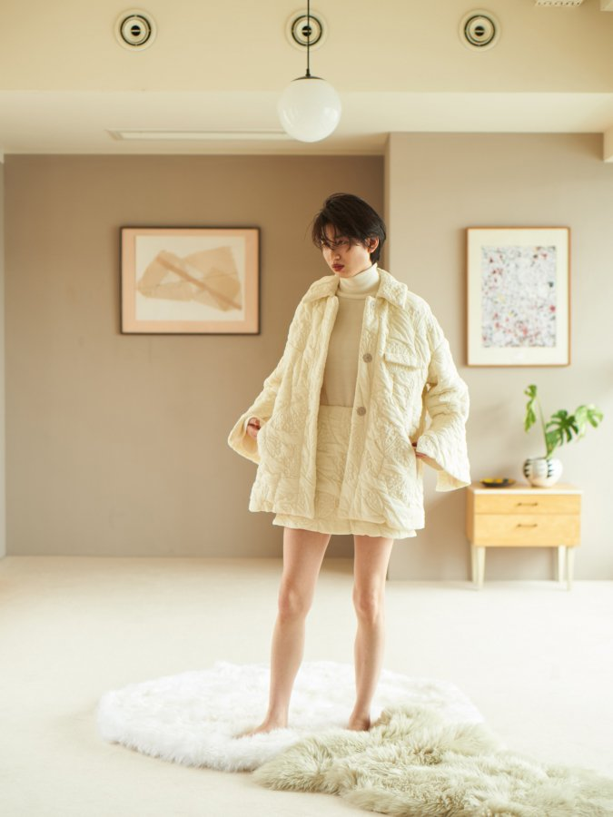 Fluffy Jacquard Quilted Coat