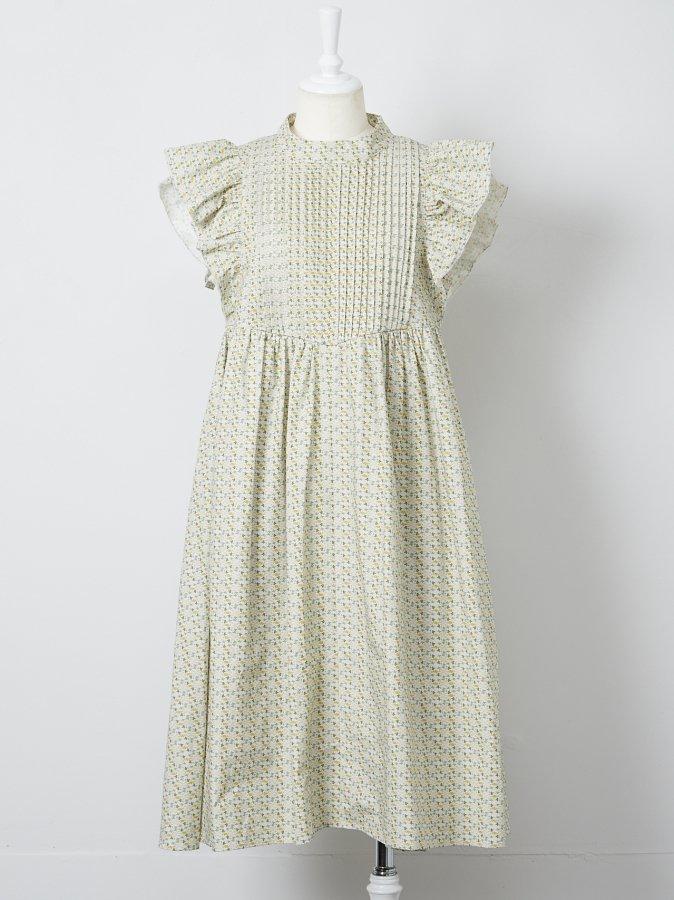 【Pre order】Flower Print Pintuck Dress