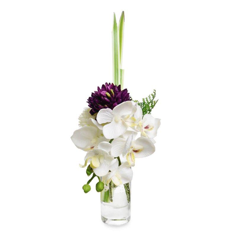 オーキッド&マム ウォーター供花 パープル アーティフィシャルフラワー アートフラワー