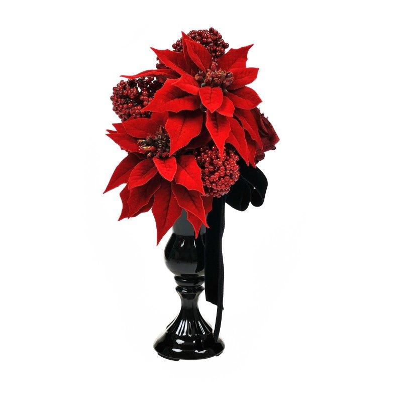 ポインセチアと赤バラのクリスマスアレンジ アーティフィシャルフラワー アートフラワー