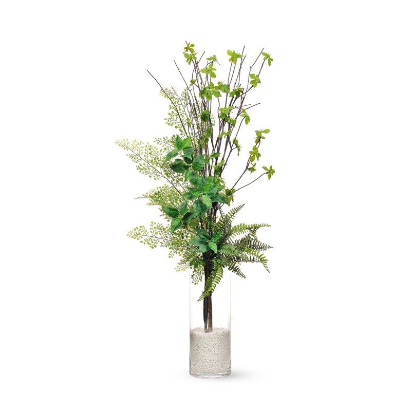 ドウダンツツジ ×アジアンタム ガラスシリンダー H108cm フェイクグリーン