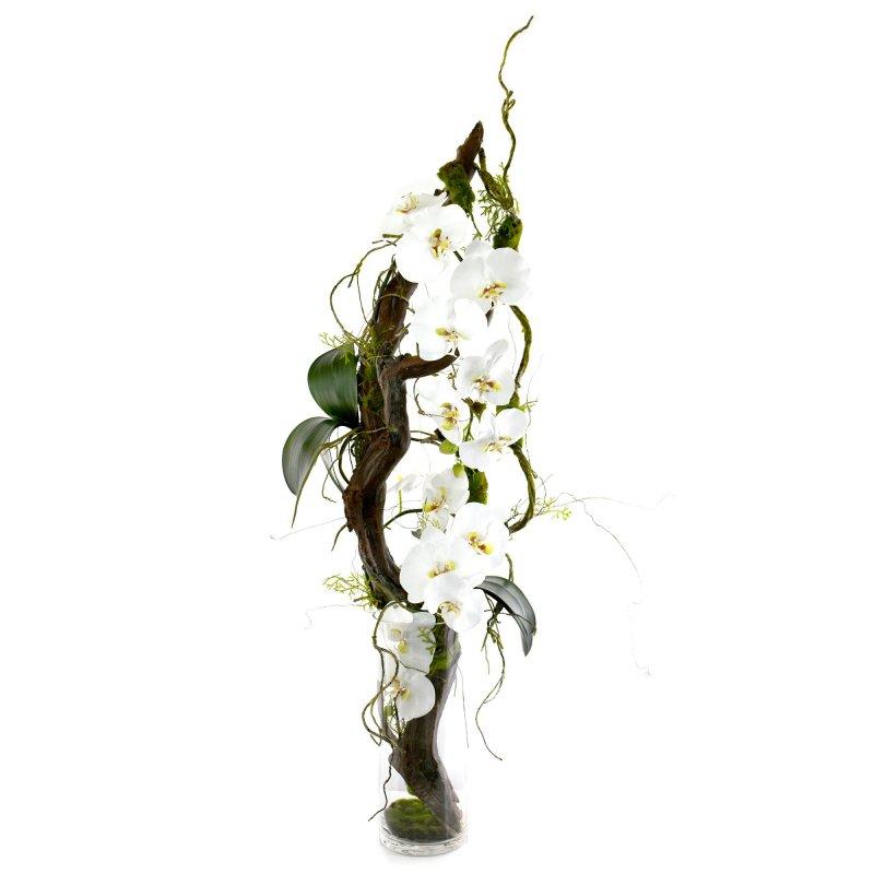 流木 コチョウラン ガラスシリンダー アレンジ アーティフィシャルフラワー アートフラワー