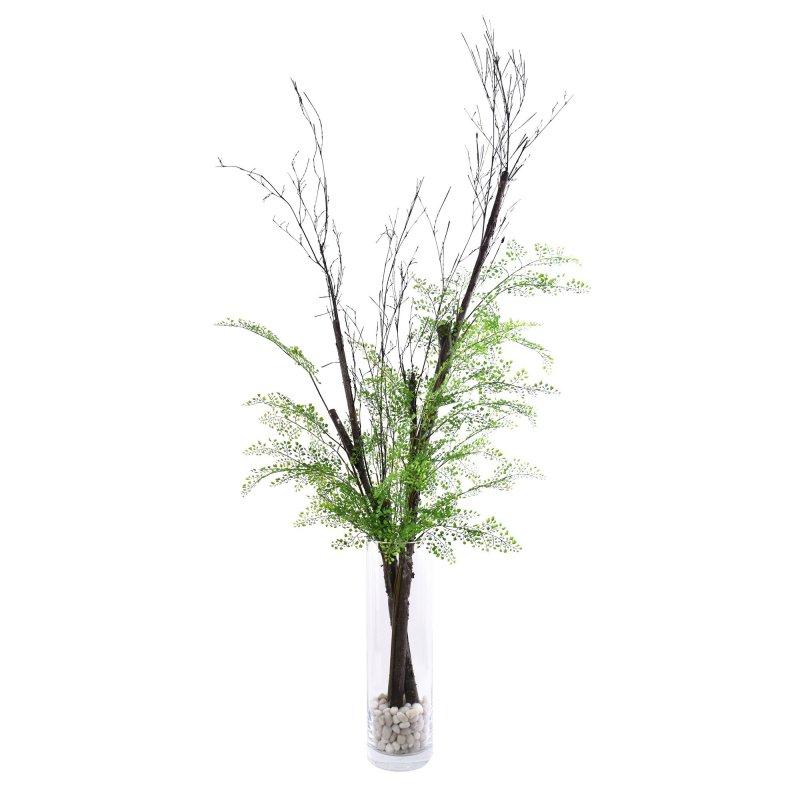 白樺&アジアンタム ガラスシリンダー H50 フェイクグリーン